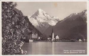 Switzerland Fluelen am Vierwaldstaettersee und der Bristenstock Real Photo