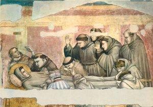 Religion  Firenze Basilica di S Croce morte di S Francesco di Giotto Postcard