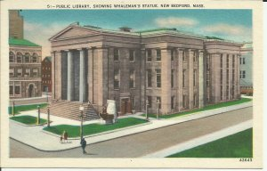 New Bedford, Mass., Public Library Showing Whaleman's Statue