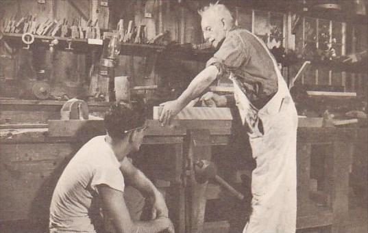 Massachusetts Sturbidge Wood Turner And His Apprentice