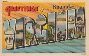 Large Letter Greetings Virginia , 30-40s Roanoke Overprint