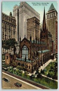 New York City~Trinity Church~Dwarfed by Skyscrapers~1910 Brown Bros Postcard