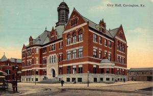 Covington Kentucky City Hall Street View Antique Postcard K47368