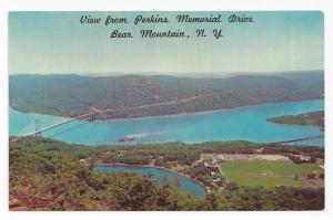 Bear Mountain NY Postcard Hudson River Hessian Lake Aerial