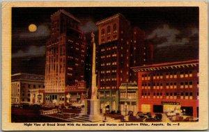 1945 Augusta, Georgia Postcard Night View Broad Street Downtown DEXTER Linen