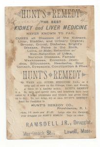 Victorian Trade Card Hunts Remedy Patent Medicine Ramsdell Druggist Lowell MA