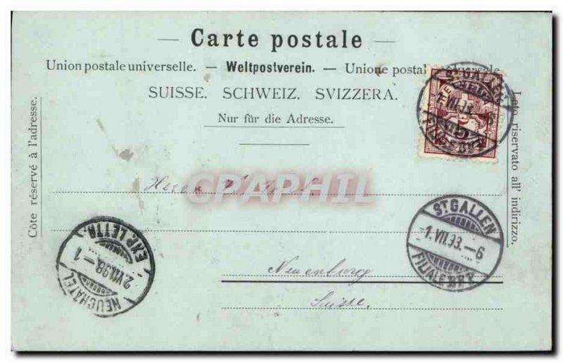 Old Postcard Switzerland St Gallen Marktgasse Map 1898