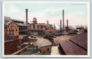 Postcard PA Pittsburgh National Tube Works Furnaces c1910 Detroit Publishing M13