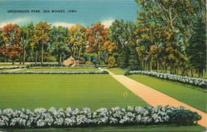 Des Moines, Iowa, IA, Greenwood Park, 1943 Linen Antique Vintage Postcard e6275