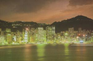 Hong Kong China Night Scene Cityscape Lux Co. Postcard D15