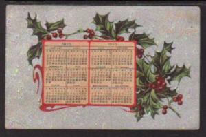 Happy New Year Holly 1910 Calendar Postcard 5832