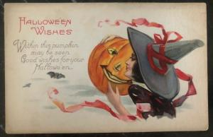 Mint Vintage USA Picture Postcard PPC Halloween Wishes