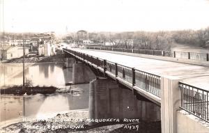 B18/ Manchester Iowa Ia Real Photo RPPC Postcard c1950s Maquoketa River Bridge