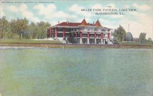 Illinois Bloomington Miller Park Pavilion Lake View 1910