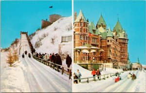 Dufferin Terrace Quebec QC Sledding Sleds Snow Unused Postcard F57