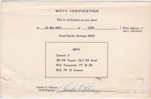 QSL, WOTV-TV, Grand Rapids, Michigan, 1973