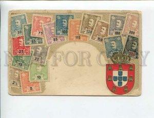 3174063 PORTUGAL ARMS & STAMPS Vintage embossed Zieher postcard