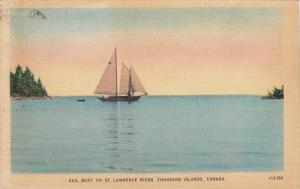 Sailboat On St. Lawrence River, THOUSAND ISLANDS, Ontario, Canada, PU-1945