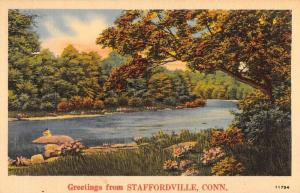 Staffordville Connecticut River Waterfront Greeting Antique Postcard K56751