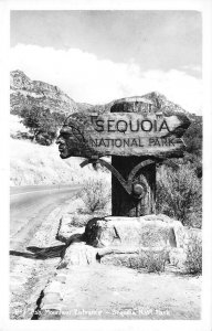 RPPC Ash Mountain Entrance, Sequoia National Park Wooden Sign ca 1950s Postcard