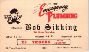 LOS ANGELES, CA California    BOB SIKKING PLUMBING AD  c1950s   Postcard
