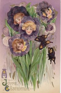 John Winsch 1910 EASTER;. Samuel Schmucker. Fantasy , Women's Faces in Flowers-6
