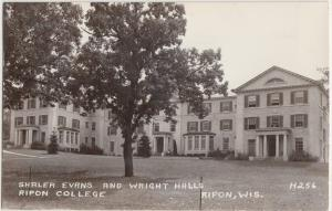 Wisconsin Wi Real Photo RPPC Postcard '49 RIPON COLLEGE Shaler Evans Wright Hall