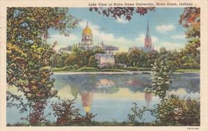 Indiana Notre Dame Lake View Of Notre Dame University 1954 Curteich