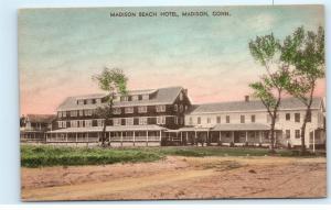 Madison Beach Hotel Madison Connecticut Conn Vintage HAND COLORED Postcard C93