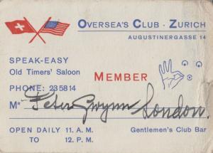 Zurich Gentlemans Risque Switzerland Adult Club Vintage Old Business Card