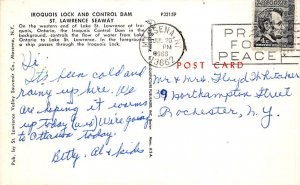 Canal Post Card Iroquois Lock & Dam St. Lawrence Seaway 1966