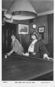 C-1910 Stage Actress Playing Billiards Rotary Photographic Postcard 21-9389