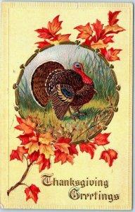 Vintage THANKSGIVING GREETINGS Embossed Postcard Turkey /Fall Leaves 1916 Cancel