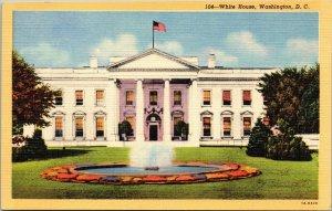 The White House, Washington, D.C. linen postcard fountain flag flying