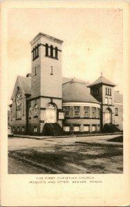 Vtg Postcard 1910s Beaver PA The First Christian Church 381 Iroquois Pl UNP