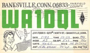 Banksville Connecticut WA1DQL QSL Radio Card Vintage Postcard JF686659