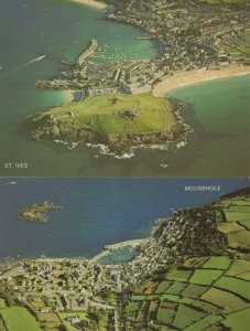 Mousehole St Ives 2x Cornwall Aerial Birds Eye Map Postcard s