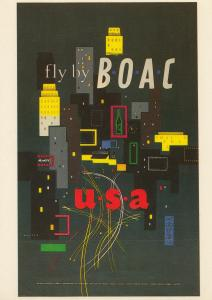 Fly To America USA By BOAC Plane Travel Flight Poster Advertising Postcard