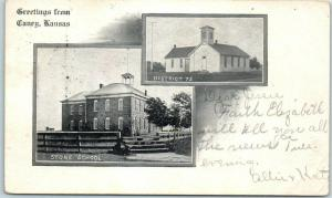 1907 Caney, Kansas Postcard Greetings w/ STONE SCHOOL and DISTRICT 72