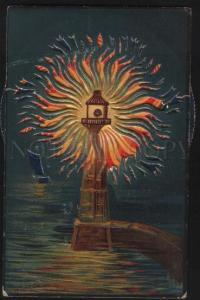 100253 GERMAN lighthouse Vintage mechanical RARE postcard