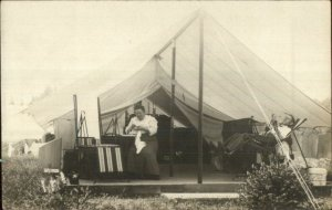 Camping Glamping Husband Wife Relaxing c1910 Amateur Real Photo Postcard