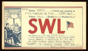 QSL from New York SWL to New Jersey W2ETI