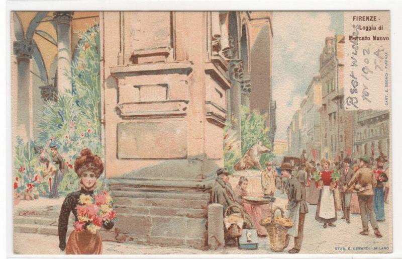 Loggia di Mercato Nuovo Firenze Florence Italy 1905c postcard