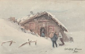 V.K. VIENNE, NEW YEAR, 1920; Family in front of home in snow