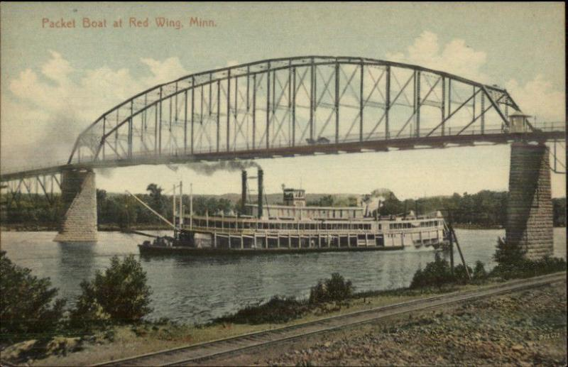 Red Wing MN Steamer Ship & Bridge c1910 Postcard