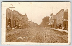 Elgin IA~Main Street Stores~Pool Room~Lunch Counter~Dentist~Dirt Road~1912 RPPC