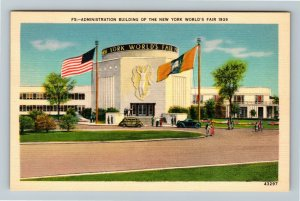 1939 New York World's Fair - Administration Building - Linen Postcard