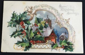 Vintage gilded and embossed Christmas Tucks Postcard, hand dated Dec 24, 1907