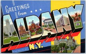 ALBANY New York Large Letter Postcard State Capitol Bldg Curteich Linen 1940s