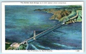 GOLDEN GATE BRIDGE Pre Construction SAN FRANCISCO to MARIN COUNTY  Postcard